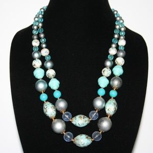 Beautiful vintage blue and gold layered necklace